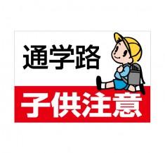 安全運転のために! 「通学路」 横型 規格木枠トタン看板 【TSY-050】